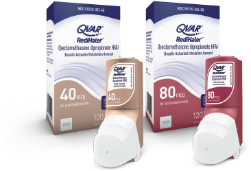 QVAR RediHaler 80 mcg and 40 mcg inhalers and packages